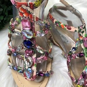 STEVE MADDEN Bizarre Jeweled Strappy Flat Sandals